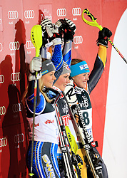 04.01.2013, Crveni Spust, Zagreb, AUT, FIS Ski Alpin Weltcup, Slalom, Damen, Podium, im Bild v.l.n.r. Frida Hansdotter (SWE, Platz 2), Mikaela Shiffrin (USA, Platz 1) und Erin Mielzynski (CAN, Platz 3) jubeln // f.l.t.r. 2nd place Frida Hansdotter of Sweden, 1st place Mikaela Shiffrin of the USA and 3th place Erin Mielzynski of Canada celebrate on podium of the ladies Slalom of the FIS ski alpine world cup at Crveni Spust course in Zagreb, Croatia on 2013/01/04. EXPA Pictures © 2013, PhotoCredit: EXPA/ Pixsell/ Zeljko Lukunic..***** ATTENTION - for AUT, SLO, SUI, ITA, FRA only *****