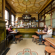 The Garden Gate pub in Hunslett, Leeds, shot for the cover of CAMRA's heritage pubs of West Yorkshire book. The Garden Gate was built in 1903. The bar features a mosiac floor, and one of eleven remaining ceramic bar counters in the UK.