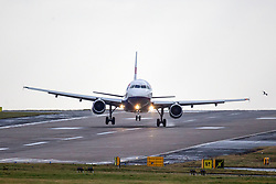 © Licensed to London News Pictures. 09/02/2019. Leeds UK. A British Airways aircraft aborts it's landing at Leeds Bradford airport this morning as strong winds from Storm Erik continue to batter the UK. Photo credit: Andrew McCaren/LNP