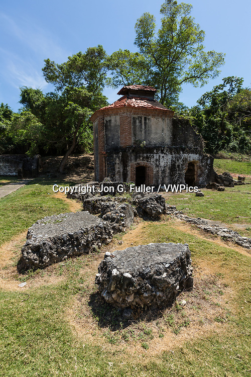 Ruins of the Nigua Sugar Mill, or Ingenio Boca de Nigua, built in the 1600's in Nigua in the Dominican Republic.  In 1796, it was the site of the first slave rebellion on the island of Hispaniola.  It was partially restored in the 1970's.