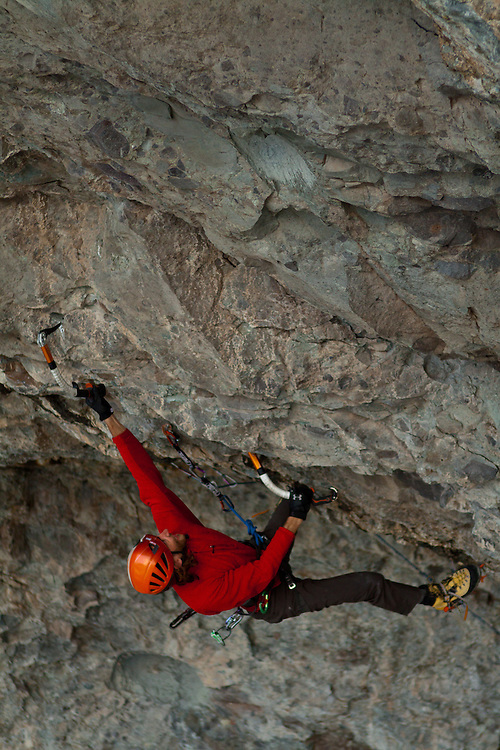 Carter Stritch climbs Zero to Hero D12, at the Hall of Justice, Ouray, CO
