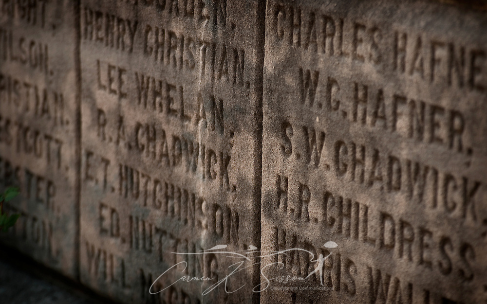 Pictured is detail from a Confederate memorial located in front of the Hale County Courthouse in Greensboro, Alabama. The monument, which features a Confederate soldier, was erected by the Ladies Memorial Association in 1904. (Photo by Carmen K. Sisson/Cloudybright)
