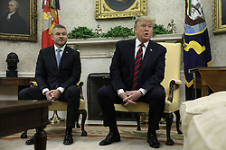 May 3, 2019 - Washington, District of Columbia, U.S. - US President Donald J. Trump talks to reporters during his meeting with Prime Minister Peter Pellegrini of the Slovak Republic in the Oval Office of the White House in Washington, DC, 03 May 2019. Credit: Yuri Gripas / Pool via CNP (Credit Image: © Yuri Gripas/CNP via ZUMA Wire)