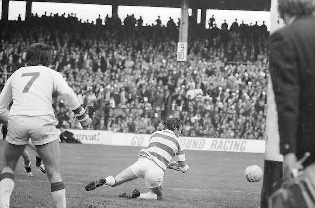 The Cork goalie falls in an attempt to save the ball during the start of the All Ireland Senior Gaelic Football Championship Final Cork v Galway in Croke Park on the 23rd September 1973. Cork 3-17 Galway 2-13.