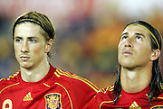 Fernando Torres (l) and Sergio Ramos of Spain. Spain v USA, International Friendly, Santander, Spain, 4th June 2008.