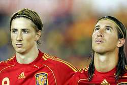 Fernando Torres (l) and Sergio Ramos of Spain. Spain v USA, International Friendly, Santander, Spain, 4th June 2008.
