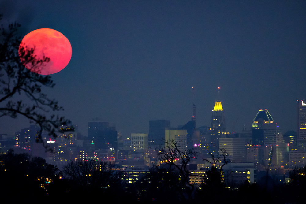 Cold Moon over Baltimore, Maryland.
