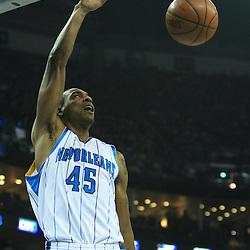19 January 2009: New Orleans Hornets guard Rasual Butler (45) dunks during a NBA regular season game between the Indiana Pacers and the New Orleans Hornets at the New Orleans Arena in New Orleans, LA. .