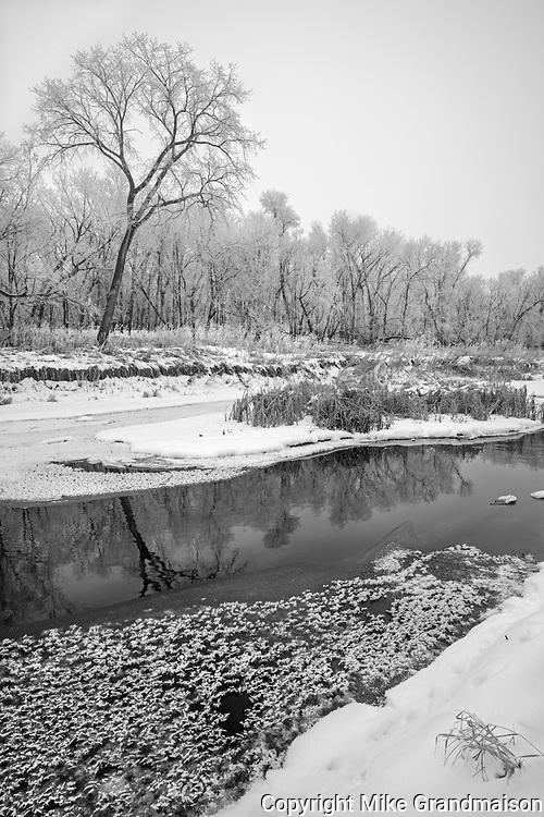 La Salle River in winter<br />La Barriere Provincial Park<br />Manitoba<br />Canada