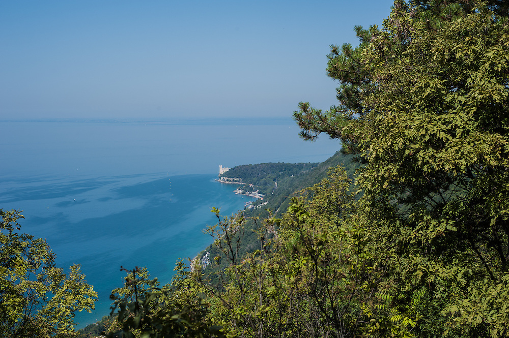 Miramare Castle seen from the Napoleonic trail in Trieste, Italy