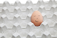 Anthropomorphic face drawn on brown egg in empty carton