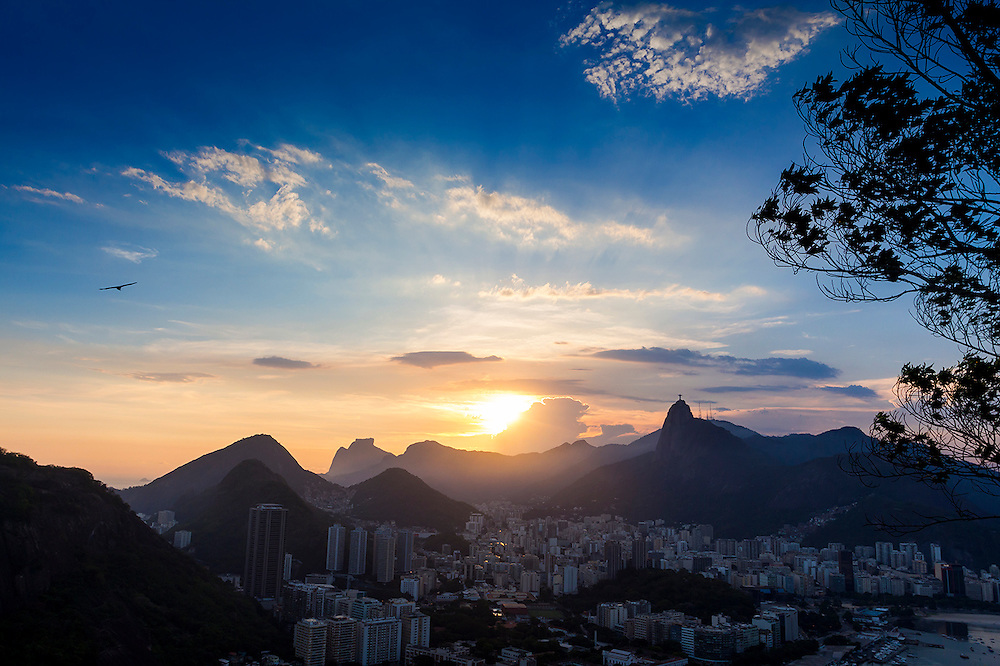 Sunset view of Rio De Janeiro, BR from Sugar Loaf
