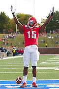 DALLAS, TX - NOVEMBER 16: Jeremy Johnson #15 of the SMU Mustangs celebrates after scoring a touchdown against the Connecticut Huskies on November 16, 2013 at Gerald J. Ford Stadium in Dallas, Texas.  (Photo by Cooper Neill/Getty Images) *** Local Caption *** Jeremy Johnson