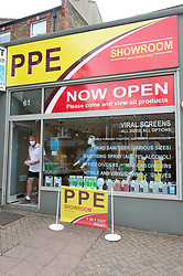 ©Licensed to London News Pictures 15/07/2020     <br /> Chislehurst, UK. The shop. Business man and director Raymond Smith has opened a PPE shop on Chislehurst High Street in Chislehurst, South East London. Bringing wholesale prices to the public with no online waiting time its believed to be the first high street shop of its kind in the UK helping in the fight against coronavirus. Photo credit: Grant Falvey/LNP