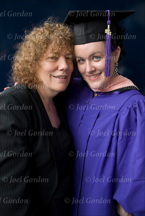 Bridget and Cristy, mother and daughter at graduation. Cristy in cap and gown received her Masters in Public Health from NYU at Yankee stadium in the Bronx, New York.<br />
