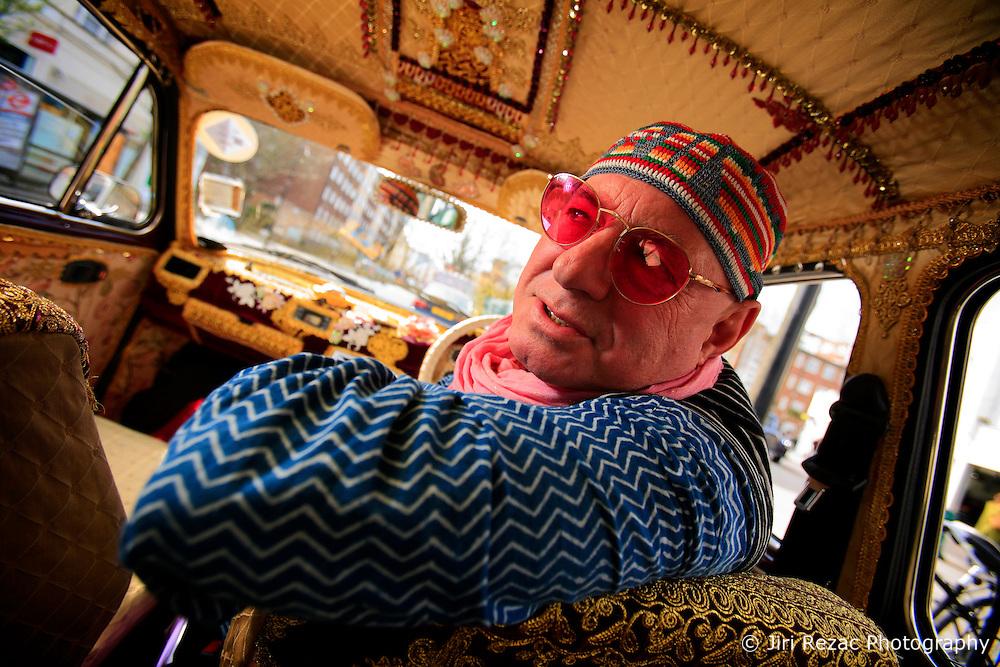 UK ENGLAND LONDON 4APR08 - Tobias Moss, founder of Karma Kars, London's most bohemian boutique car service poses with one of his four Indian-built Ambassador taxis...jre/Photo by Jiri Rezac..© Jiri Rezac 2008..Contact: +44 (0) 7050 110 417.Mobile:  +44 (0) 7801 337 683.Office:  +44 (0) 20 8968 9635..Email:   jiri@jirirezac.com.Web:    www.jirirezac.com..© All images Jiri Rezac 2008 - All rights reserved.