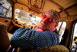 UK ENGLAND LONDON 4APR08 - Tobias Moss, founder of Karma Kars, London's most bohemian boutique car service poses with one of his four Indian-built Ambassador taxis...jre/Photo by Jiri Rezac..© Jiri Rezac 2008..Contact: +44 (0) 7050 110 417.Mobile:  +44 (0) 7801 337 683.Office:  +44 (0) 20 8968 9635..Email:   jiri@jirirezac.com.Web:    www.jirirezac.com..© All images Jiri Rezac 2008 - All rights reserved.