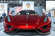 "New York, NY, USA-23 March 2016. Koenigsegg, a Swedish maker of sportscars, intoduced its latest model, the Regera. The model, a hybrid luxury ""megacar"" which retails ofr $2m US, will be limited to 80 examples worldwide."