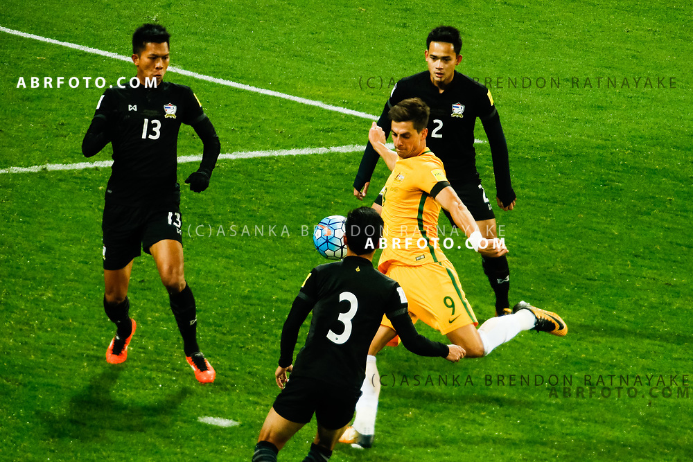 MELBOURNE, AUSTRALIA - SEPTEMBER 5 : Tomi Juric of the Australia Socceroos has a shot on goal during the Stage 3 Group World Cup Football Qualifiers between Australia Vs Thailand at the Melbourne Rectangular Stadium, Melbourne, Australia 5 September 2017.