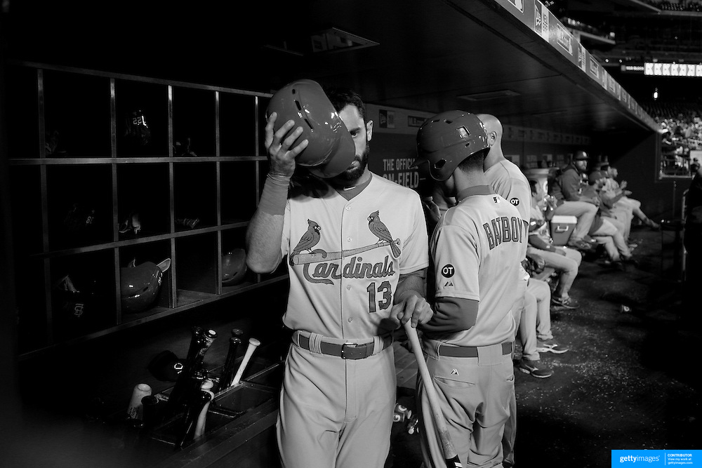 Matt Carpenter, St. Louis Cardinals, prepares to bat in the dugout during the New York Mets Vs St. Louis Cardinals MLB regular season baseball game at Citi Field, Queens, New York. USA. 20th May 2015. Photo Tim Clayton