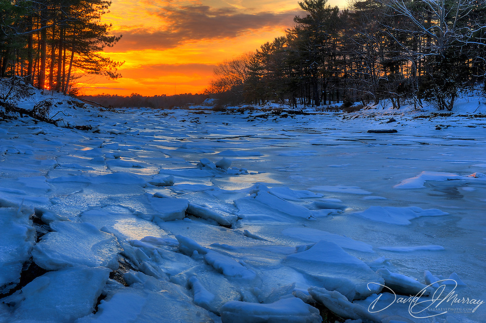 Sea ice at Sunset off New Castle, NH