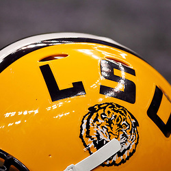 Jan 9, 2012; New Orleans, LA, USA; A detail of an LSU Tigers helmet during the second half of the 2012 BCS National Championship game against the Alabama Crimson Tide at the Mercedes-Benz Superdome.  Mandatory Credit: Derick E. Hingle-US PRESSWIRE