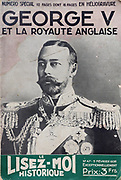 Front cover of issue no. 47 of Le Lisez-Moi Historique, a bi-monthly history magazine, published February 1936, featuring a portrait and article on George V and the British monarchy. This was a special edition with 112 pages, of which 16 are printed with rotogravure. This magazine is part of the Historia group, a monthly history magazine created by Jules Tallandier and published 1909-37 and again from 1945. Picture by Manuel Cohen