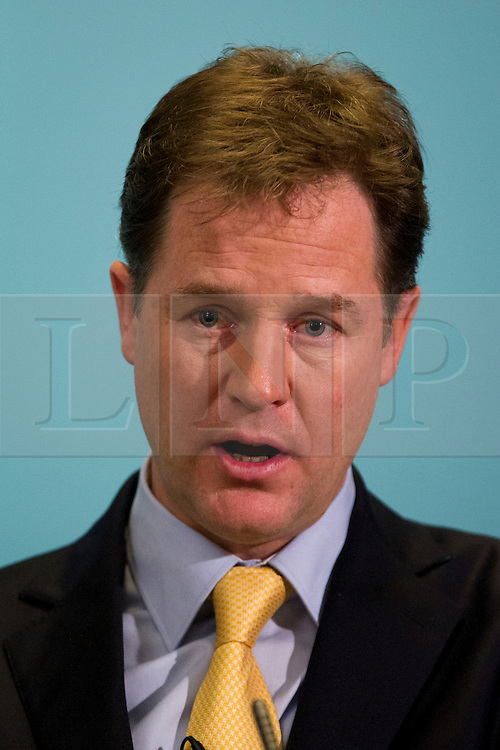 © Licensed to London News Pictures. 18/11/2013. London, UK. The British Deputy Prime Minister, Nick Clegg, talks to the media during his monthly press conference held at the Scotland Office on Whitehall, London, today (18/11/2013). Photo credit: Matt Cetti-Roberts/LNP