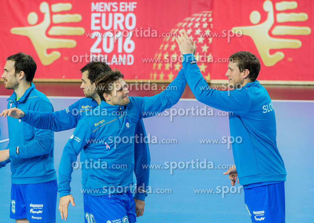 Jure Natek, Klemen Cehte, Marko Bezjak and David Miklavcic of Slovenia during handball match between National Teams of Slovenia and Slovakia in Qualification 2 of 2016 Men's European Championship, on October 29, 2014 in Arena Bonifika, Koper, Slovenia. Photo by Vid Ponikvar / Sportida