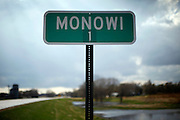 The sign at the town limits outside the village of Monowi, Nebraska shows the population at only 1 April 27, 2011, making it the only incorporated town, village or city in the United States with only one resident. Elsie Eiler, 77, is the lone inhabitant in the village.  REUTERS/Rick Wilking (UNITED STATES)