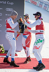 28.12.2018, Stelvio, Bormio, ITA, FIS Weltcup Ski Alpin, Abfahrt, Herren, Siegerehrung, im Bild v.l. Christof Innerhofer (ITA, 2. Platz), Beat Feuz (SUI, 3. Platz), Dominik Paris (ITA, 1. Platz), // f.l. second placed Christof Innerhofer of Italy third placed Beat Feuz of Switzerland race winner Dominik Paris of Italy during the winner Ceremony for the men's Downhill of FIS Ski Alpine World Cup at the Stelvio in Bormio, Italy on 2018/12/28. EXPA Pictures © 2018, PhotoCredit: EXPA/ Johann Groder