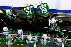 Bench of HDD Tilia Olimpija during ice-hockey match between HDD Tilia Olimpija and EHC Liwest Black Wings Linz at second match in Semifinal  of EBEL league, on March 8, 2012 at Hala Tivoli, Ljubljana, Slovenia. (Photo By Matic Klansek Velej / Sportida)