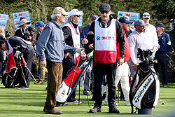 """Feb 6, 2019 Pebble Beach, Ca. USA TV, Film and singing stars that included Winners, CLINT EASTWOOD who's caddy was former golf pro, SIR NICK FALDO whom played in the """"3M Celebrity Challenge"""" to try for part of the 100K purse to go to their favorite charity and win the Estwood-Murray cup, for which team Clint Eastwwod's group won.. The event took place during practice day of the PGA AT&T National Pro-Am golf on the Pebble Beach Golf Links. Photo by Dane Andrew c. 2019 contact: 408 744-9017  TenPressMedia@gmail.com"""