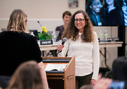 MMSD board member Cristiana Carusi smiles during the Madison Metropolitan School Board swearing-in ceremony at Cesar Chávez Elementary School in Madison, WI on Monday, April 29, 2019.