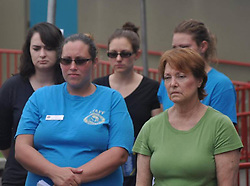 July 23, 2017 - USA - South Florida Musuem employees watch as officials discuss the death of Snooty the manatee during a news conference on Sunday, July 23, 2017 at the museum. (Credit Image: © Marc R. Masferrer/TNS via ZUMA Wire)
