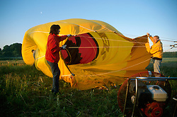 GERMANY SCHLESWIG-HOLSTEIN KIEL 9JUN02 - A wind machine blows air into the balloon's hull...jre/Photo by Jiri Rezac..© Jiri Rezac 2002..Contact: +44 (0) 7050 110 417..Mobile:  +44 (0) 7801 337 683.Office:  +44 (0) 20 8968 9635..Email:   jiri@jirirezac.com.Web:     www.jirirezac.com