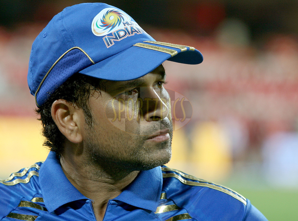 Sachin Tendulkar of Mumbai Indians during the award ceremony after the match 8 of the the Indian Premier League ( IPL ) Season 4 between the Royal Challengers Bangalore and the Mumbai Indians held at the Chinnaswamy Stadium, Bangalore, Karnataka, India on the 12th April 2011..Photo by Vino John/BCCI/SPORTZPICS