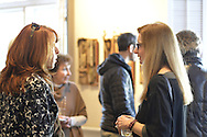 "Roslyn, New York, USA. January 31, 2015. Artists Reception for ""The Alchemists"" Karine Falleni, Thea Lanzisero, Barbara Miller, Constance Wain, and Ellen Hallie Schiff, at Bryant Library. Curated by Schiff."
