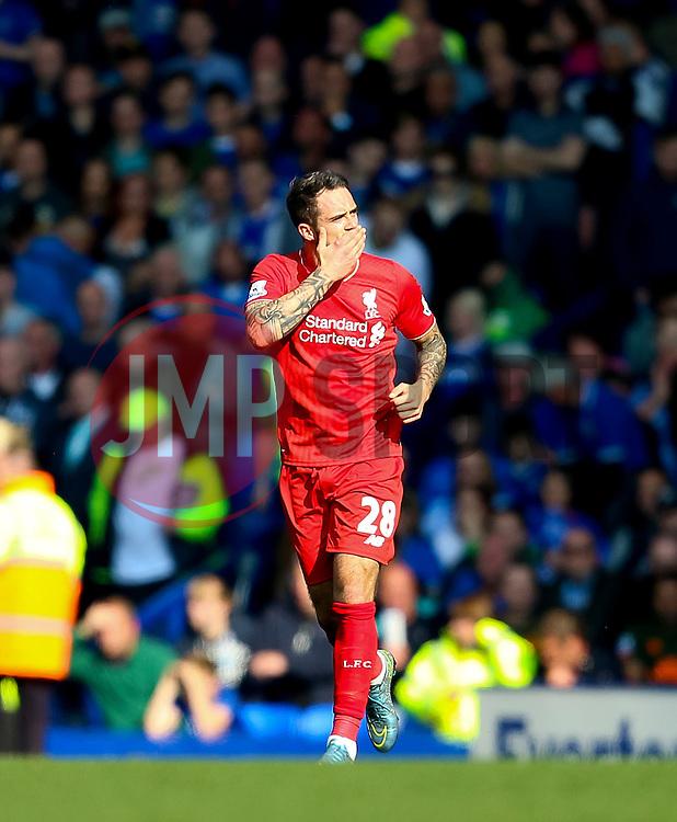 Danny Ings of Liverpool celebrates after scoring the opening goal  - Mandatory byline: Matt McNulty/JMP - 07966 386802 - 04/10/2015 - FOOTBALL - Goodison Park - Liverpool, England - Everton  v Liverpool - Barclays Premier League