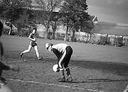 Division 1A Playoff At Iveagh Grounds..St James Gate vs Park Villa..1986..28.05.1986..05.28.1986..28th May 1986..image of the St James's Gate goalkeeper as he collects the ball to break up a Parkvilla attack in the division 1A playoff.