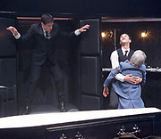 Loot <br /> by Joe Orton <br /> at Park Theatre, London, Great Britain <br /> press photocall <br /> 22nd August 2017 <br /> directed by Michael Fentiman <br /> <br /> Sam Frenchum as Hal <br /> <br /> Calvin Demba as Dennis <br /> <br /> <br /> <br /> Anah Ruddin as Mrs McLeavy <br /> <br /> <br /> <br /> Photograph by Elliott Franks <br /> Image licensed to Elliott Franks Photography Services