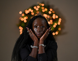 Pictured: Eunice Olumide wearing a selection of diamond jewellery from the sale.<br /> <br /> Supermodel Eunice Olumide was on hand to model some of the spectacular items coming up for sale at Bonhams Christmas Jewels sale.<br /> <br /> © Dave Johnston / EEm