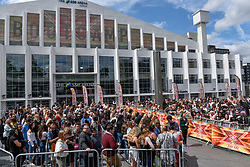 "© Licensed to London News Pictures. 21/07/2017. London, UK. Contestants, fans and friends and family gather outside Wembley Arena ahead of ""X Factor Bootcamp"".   Photo credit : Stephen Chung/LNP"