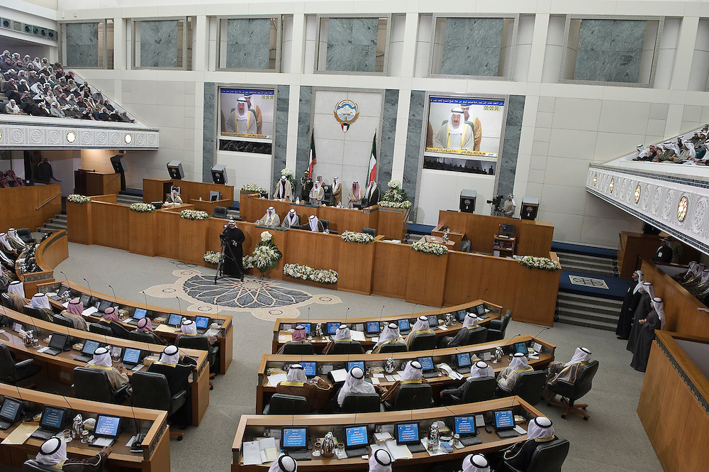 HH the Emir Sheikh Sabah Al-Ahmad Al-Jaber Al-Sabah addresses parliament in Kuwait City Feb. 15, 2012, signaling the state opening of the new legislative term. Kuwaitis voted Feb. 2 for a new 50-member legislature.