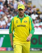 Aaron Finch of Australia during the ICC Cricket World Cup 2019 semi final match between Australia and England at Edgbaston, Birmingham, United Kingdom on 11 July 2019.
