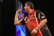 Mensur Suljovic during the BWIN Grand Slam of Darts at Aldersley Leisure Village, Wolverhampton, United Kingdom on 18 November 2018.