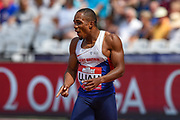 Chilindu Utah of Great Britain  celebrates after winning the Men's 100m Final during the Muller Anniversary Games at the London Stadium, London, England on 9 July 2017. Photo by Martin Cole.