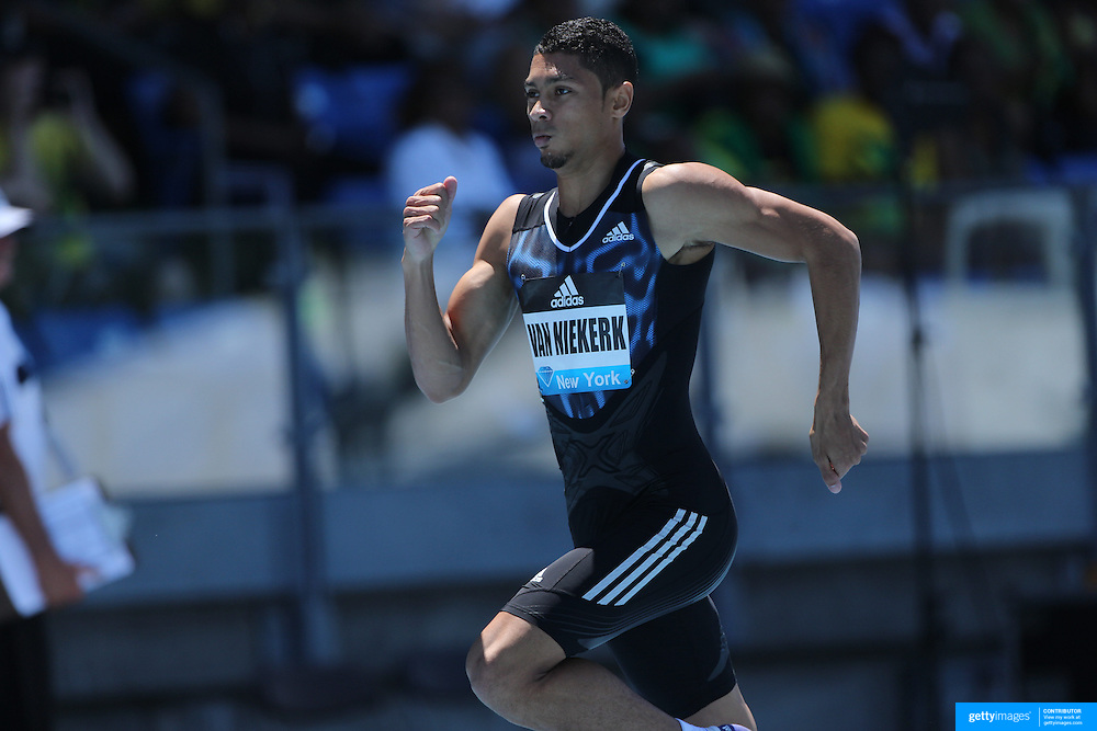 Wayde Van Niekerk, South Africa, winning the Men's 400m event  during the Diamond League Adidas Grand Prix at Icahn Stadium, Randall's Island, Manhattan, New York, USA. 13th June 2015. Photo Tim Clayton