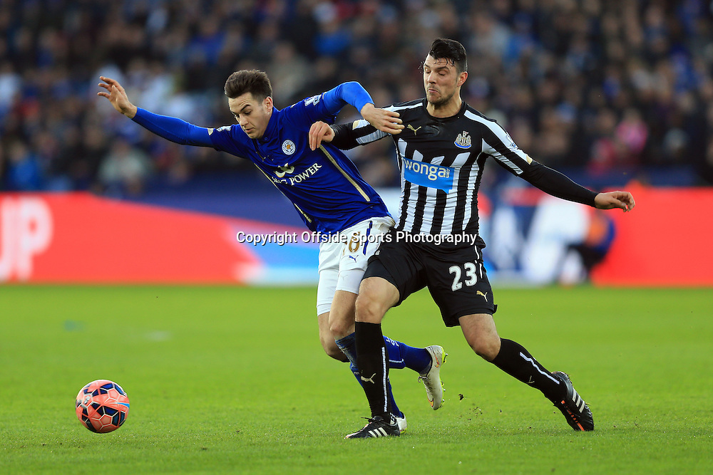 3 January 2015 - The FA Cup 3rd Round - Leicester City v Newcastle United -  Tom Lawrence of Leicester City tangles with Haris Vuckic of Newcastle United - Photo: Marc Atkins / Offside.