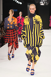 """© Licensed to London News Pictures. 02/06/2015. London, UK. Collection by Katrina Wilson, Birmingham City University. Runway show """"Best of Graduate Fashion Week 2015"""". Graduate Fashion Week takes place from 30 May to 2 June 2015 at the Old Truman Brewery, Brick Lane. Photo credit : Bettina Strenske/LNP"""